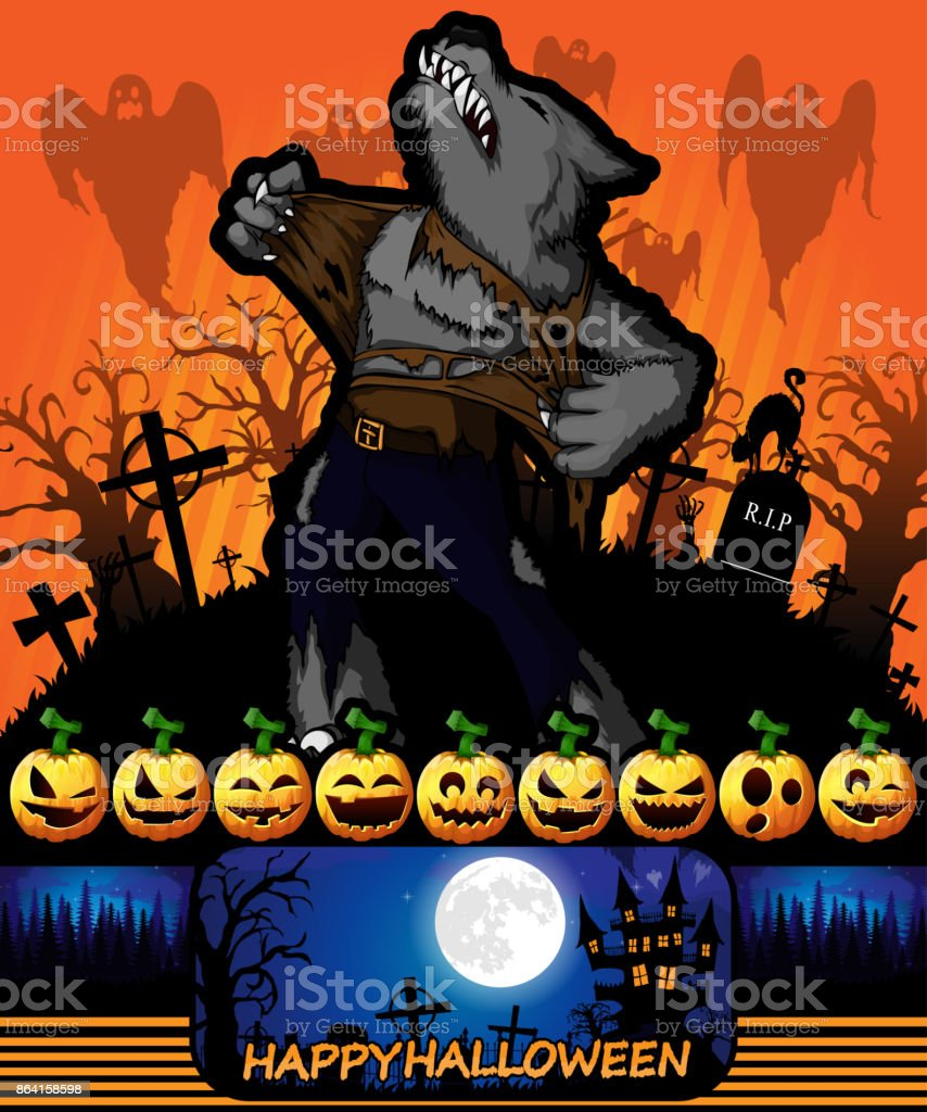 Halloween poster with werewolf. Vector illustration. royalty-free halloween poster with werewolf vector illustration stock vector art & more images of abstract