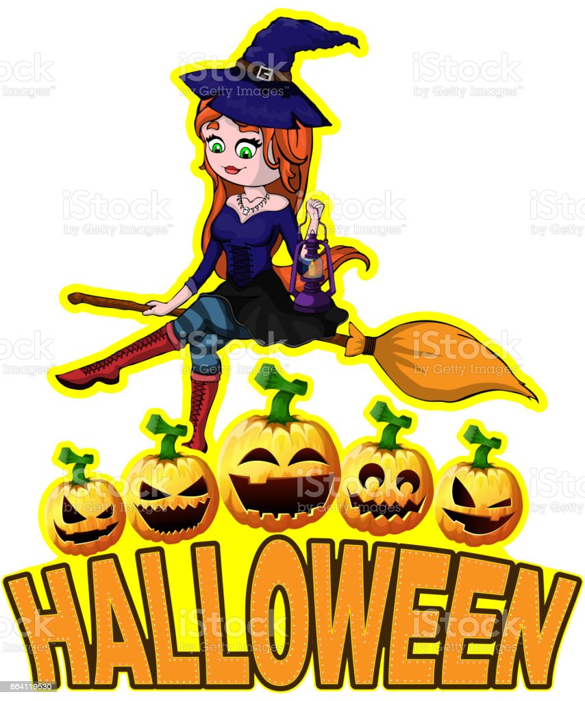 Halloween Poster with witch. royalty-free halloween poster with witch stock vector art & more images of adult