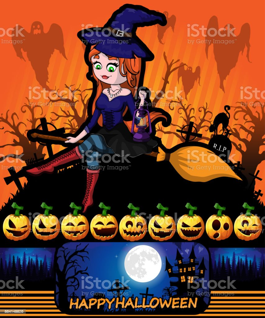 Halloween poster with witch. Vector illustration. royalty-free halloween poster with witch vector illustration stock vector art & more images of bag