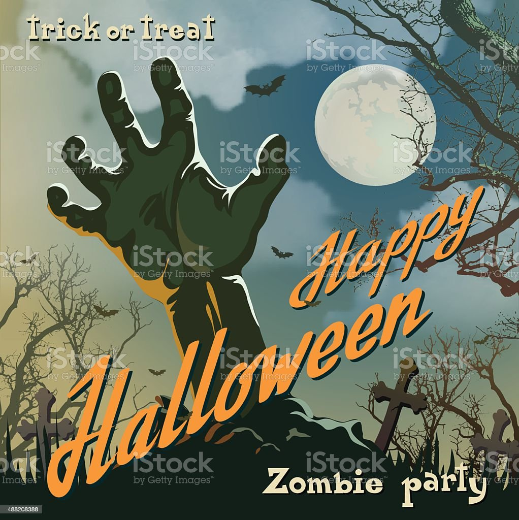 Halloween Poster With Zombie Hand vector art illustration
