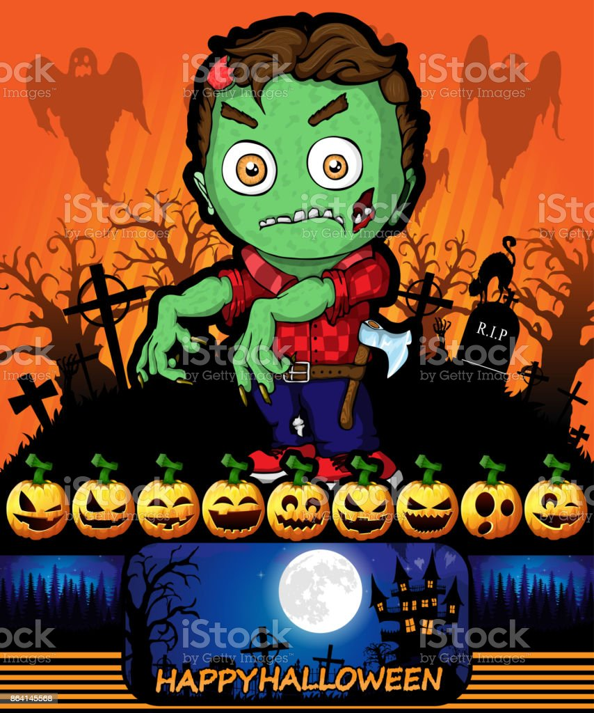 Halloween poster with zombie. Vector illustration. royalty-free halloween poster with zombie vector illustration stock vector art & more images of abstract