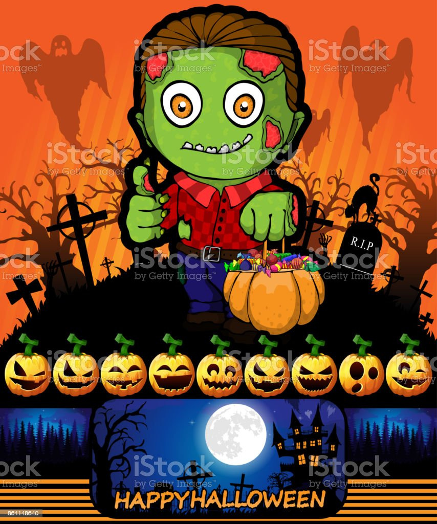 Halloween poster with zombie. Vector illustration. royalty-free halloween poster with zombie vector illustration stock vector art & more images of abstract