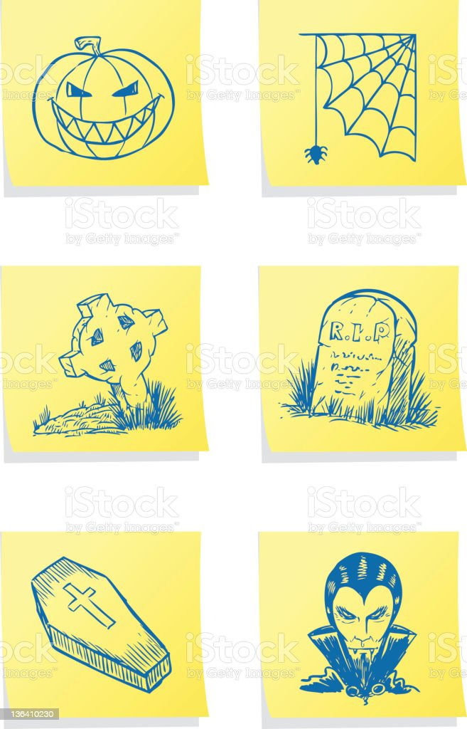 Halloween Post-its royalty-free halloween postits stock vector art & more images of adhesive note