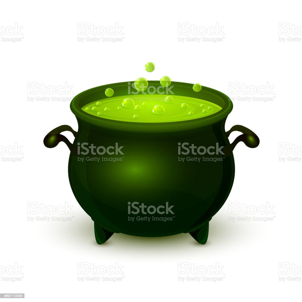 Halloween pot with green potion and bubble vector art illustration