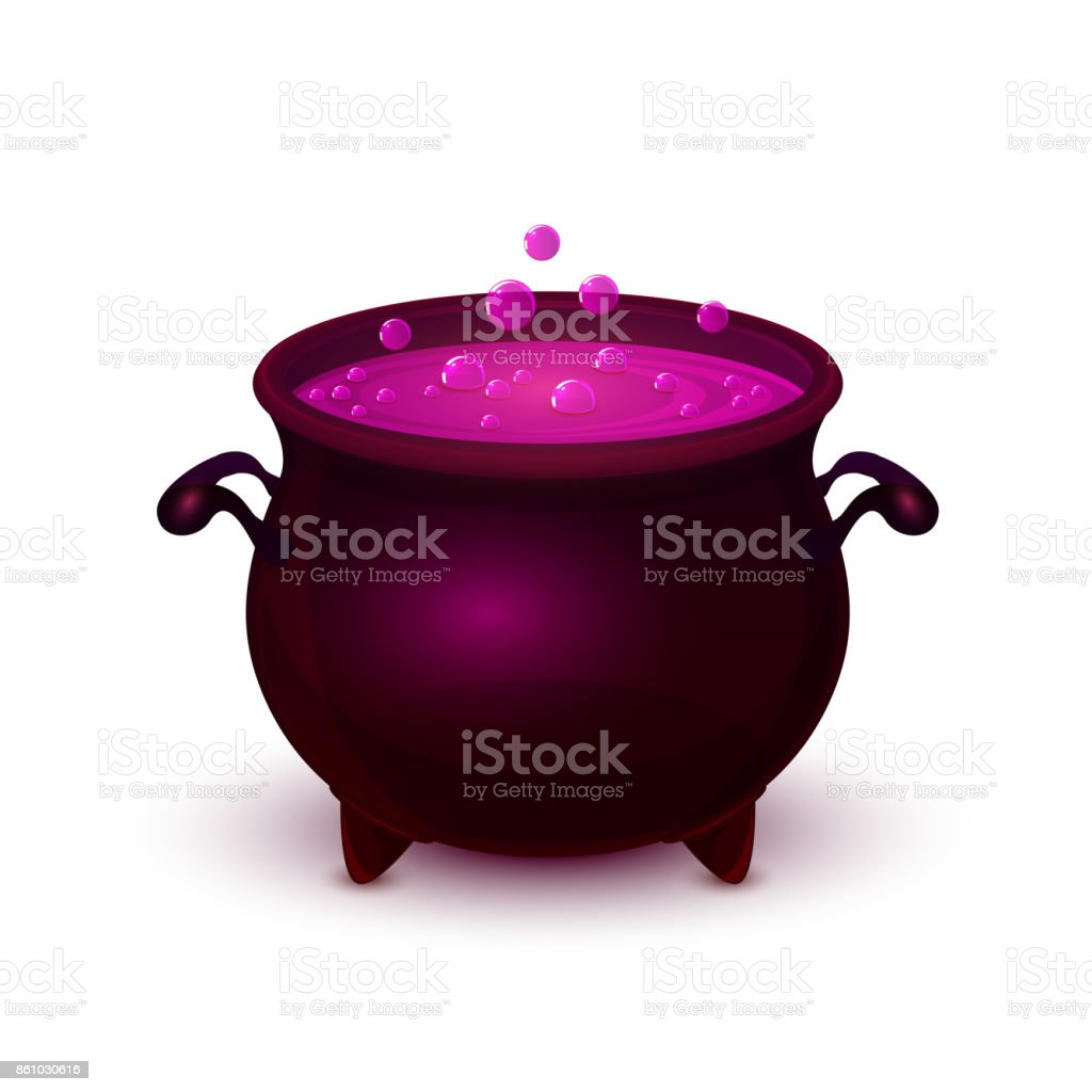 Halloween pot with purple potion and bubble vector art illustration