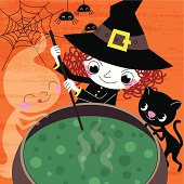 Witch and  Company Prepare Halloween Soup.