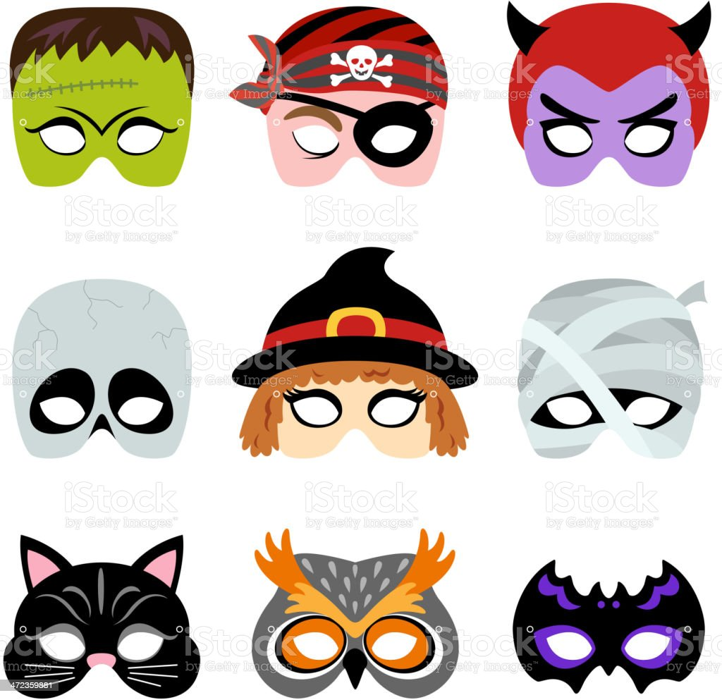 Halloween Printable Masks vector art illustration