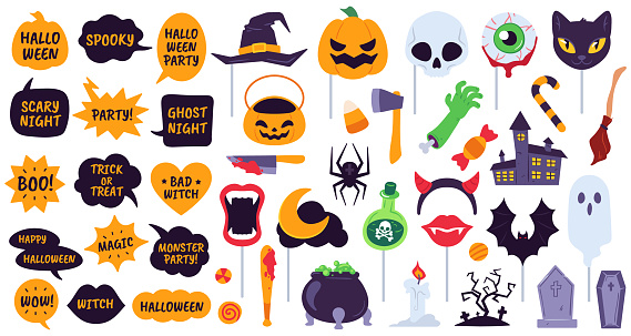 Halloween props. Holiday accessories speech bubbles with phrases, pumpkin, skull and devil hat. Spider, ghost and bat, broom vector icons
