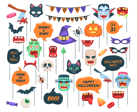 Halloween props. Photo booth requisite speech bubbles with text, boo, trick or threat and holiday symbols zombie and witch hat, vampire, pumpkin and bat vector cartoon isolated set