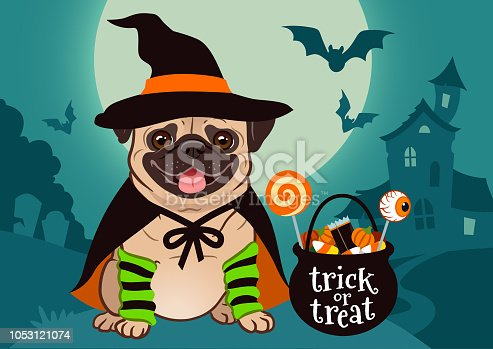 istock Halloween pug dog dressed as witch with hat, cape, cauldron with candy, against spooky scene with full moon, haunted house, forest cemetery. Halloween, dog lovers, pet costume theme for posters, cards 1053121074