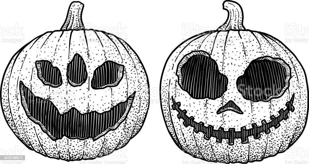 Illustration de la t te de citrouille halloween dessin gravure encre dessin au trait vecteur - Tete de citrouille ...