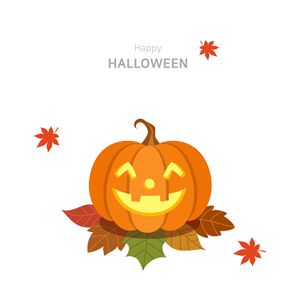 Halloween pumpkin and falling maple leaves
