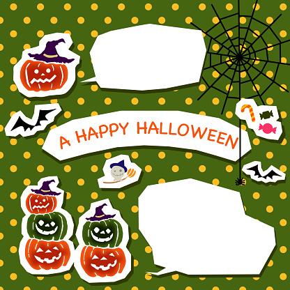 Halloween pumpkin and speech bubble set.