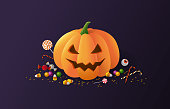 Halloween pumpkin and sweets on a dark background. Carved squash holiday decoration with confetti and candy around. - Vector illustration
