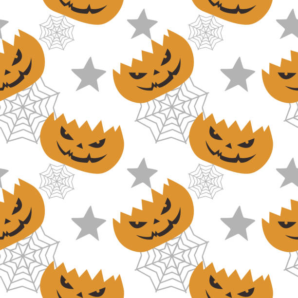 Halloween pumpkin and web spider creepy seamless pattern Halloween pumpkin and web spider creepy seamless pattern. vector illustration for fashion textile print and wrapping with festive design. tarantula stock illustrations