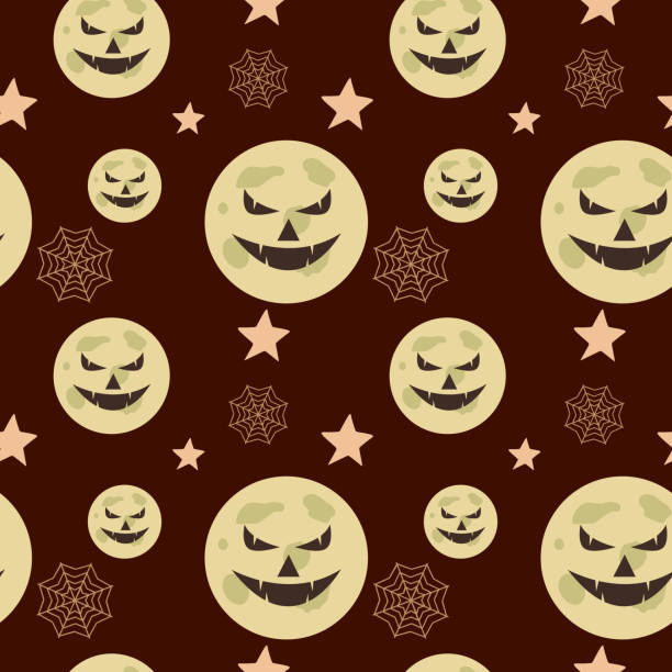 Halloween pumpkin and web spider cute seamless pattern Halloween pumpkin and web spider cute seamless pattern. vector illustration for fashion textile print and wrapping with festive design. tarantula stock illustrations