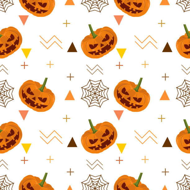 Halloween pumpkin and web spider seamless pattern Halloween pumpkin and web spider seamless pattern. vector illustration for fashion textile print and wrapping with festive design. tarantula stock illustrations
