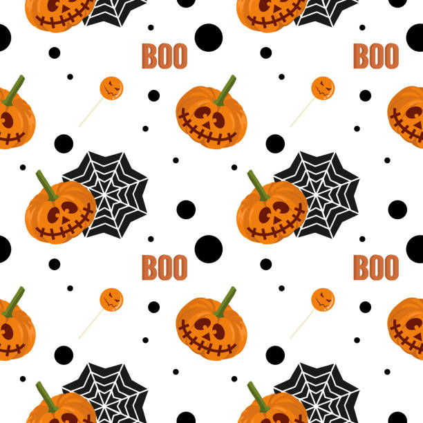 Halloween pumpkin and web spider with boo seamless pattern Halloween pumpkin and web spider with boo seamless pattern. vector illustration for fashion textile print and wrapping with festive design. tarantula stock illustrations