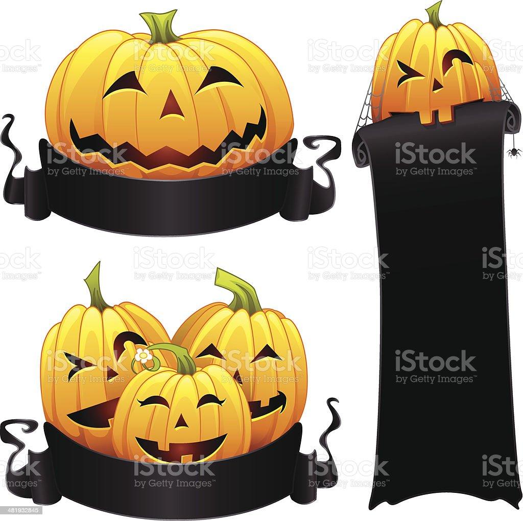 Halloween Pumpkin Banners royalty-free halloween pumpkin banners stock vector art & more images of anthropomorphic smiley face
