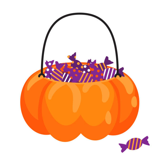 halloween pumpkin basket full of candies vector cartoon. treat jar for kids. - halloween candy stock illustrations