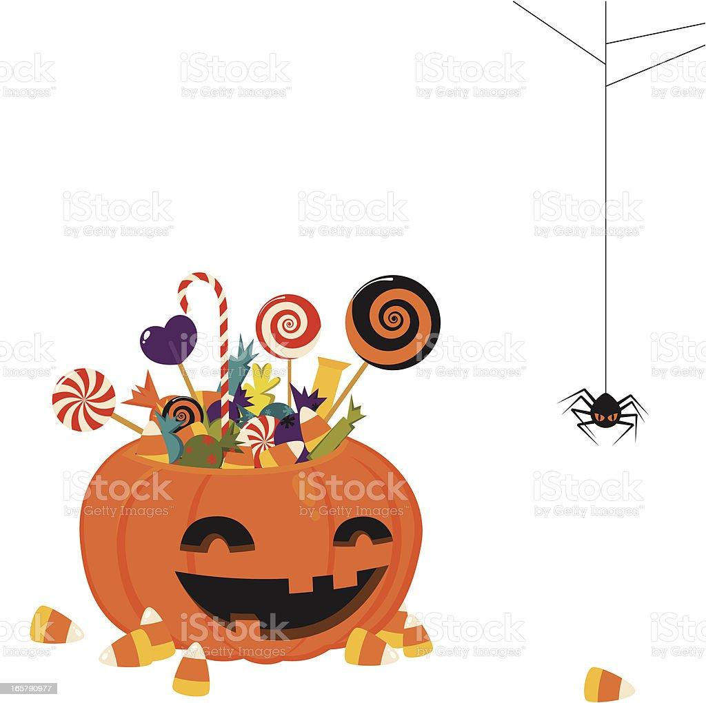 Halloween pumpkin basket vector art illustration