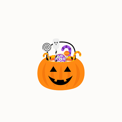 Halloween. Pumpkin Basket with candies. Candy and sweet basket. Vector illustration