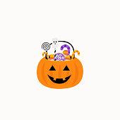 istock Halloween. Pumpkin Basket with candies. Candy and sweet basket. Vector 1337405979