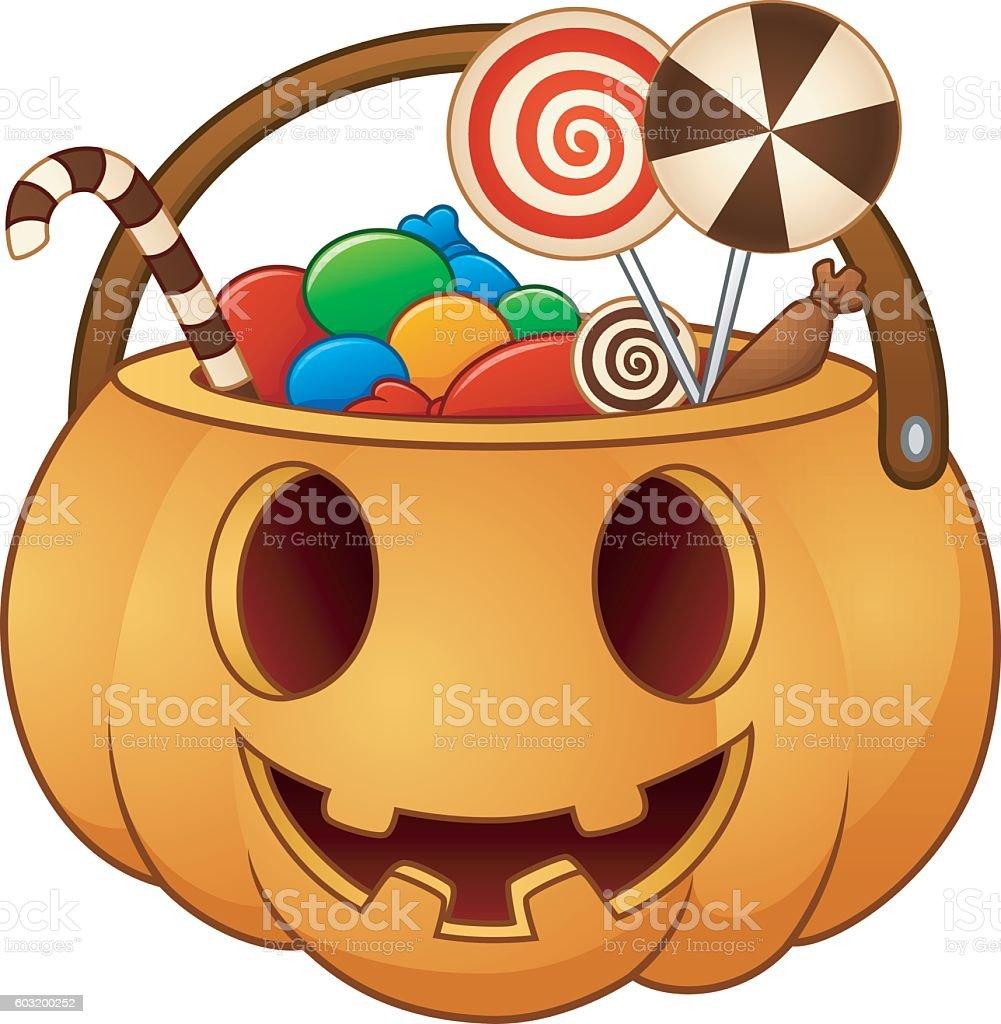Halloween pumpkin basket with full of candies vector art illustration