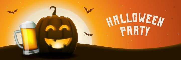 Halloween pumpkin beer party banner.