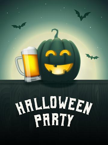 Halloween pumpkin beer party poster.