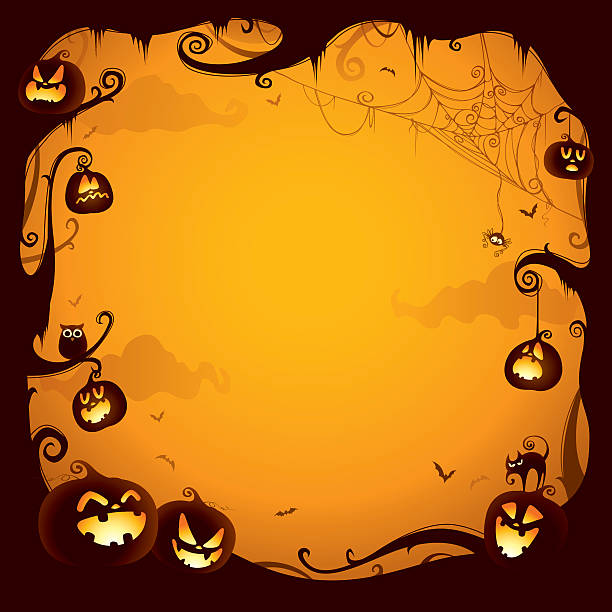 halloween pumpkin border for design - halloween background stock illustrations