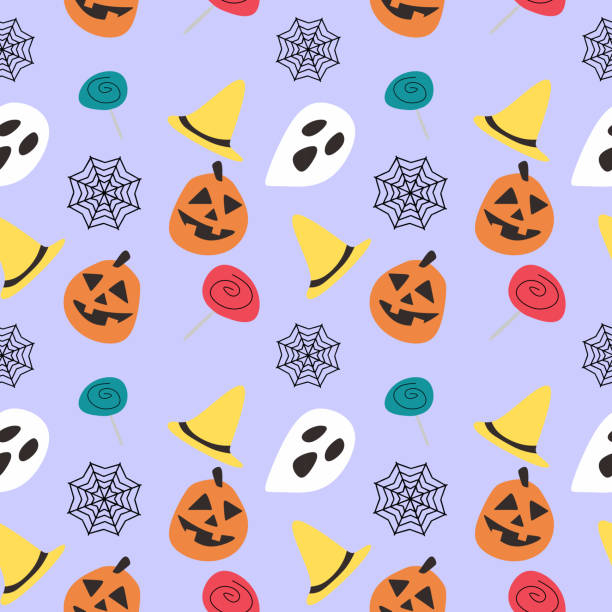 Halloween pumpkin candy and ghost cute seamless pattern Halloween pumpkin candy and ghost cute seamless pattern. vector illustration for fashion textile print and wrapping with festive design. tarantula stock illustrations