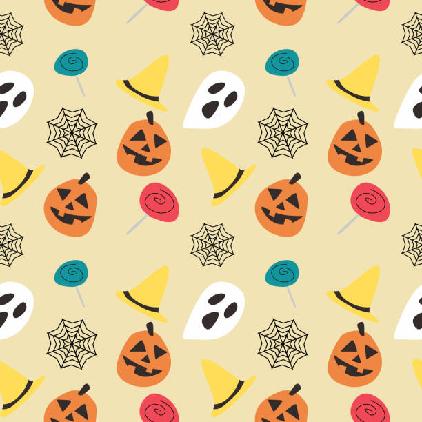 Halloween pumpkin candy web and ghost seamless pattern Halloween pumpkin candy web and ghost seamless pattern. vector illustration for fashion textile print and wrapping with festive design. tarantula stock illustrations