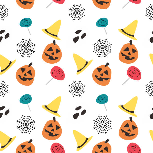 Halloween pumpkin candy witch hat and web seamless pattern Halloween pumpkin candy witch hat and web seamless pattern. vector illustration for fashion textile print and wrapping with festive design. tarantula stock illustrations