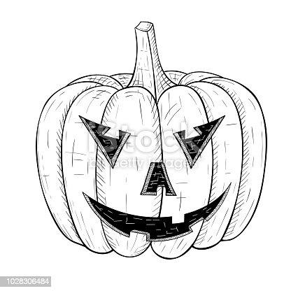 Ilustración de Calabaza De Halloween Tallada Cara Enfadada Boceto ...