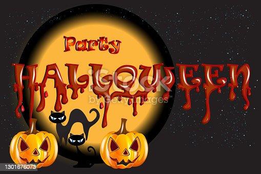 istock Halloween Pumpkin Cats Party Background 1301676073