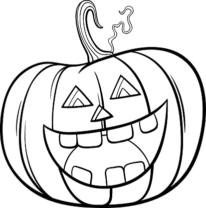 Halloween pumpkin character cartoon coloring book page
