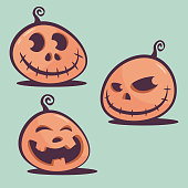Vector illustration of a set of halloween jack-o-lantern pumkin emoticons in a cute and colorful style.