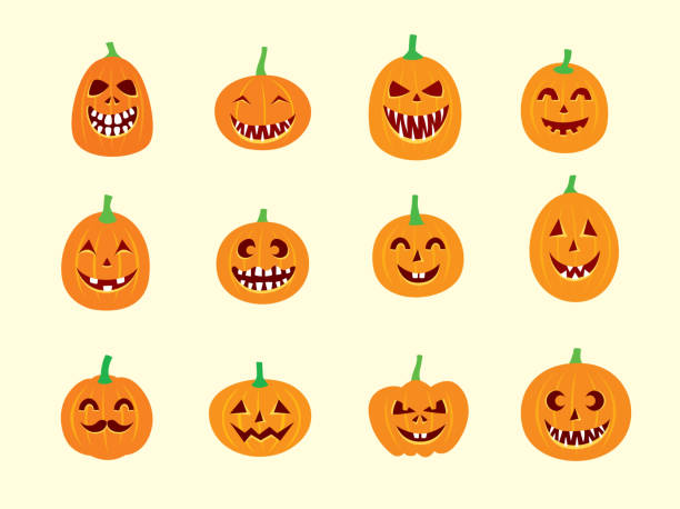 royalty free drawing of the evil jack o lantern face clip art