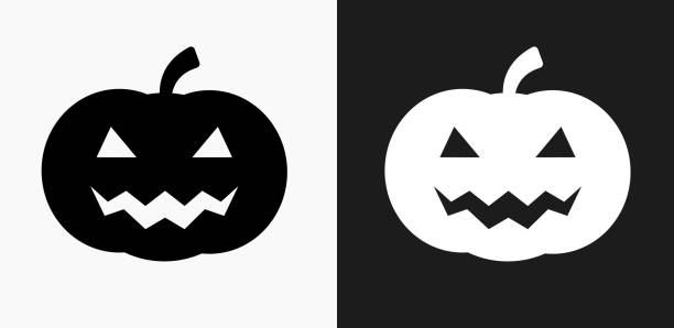 halloween pumpkin face icon on black and white vector backgrounds - pumpkin stock illustrations