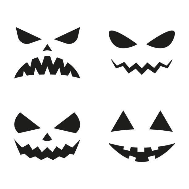 illustrazioni stock, clip art, cartoni animati e icone di tendenza di halloween pumpkin faces icon set. scary faces silhouettes. vector illustration. - malvagità