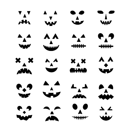 Halloween Pumpkin Faces icon set. Spooky Jack-o'-Lantern vector elements isolated on white. Halloween party decorations