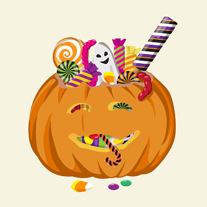Halloween pumpkin filled with sweets. Hand drawn vector illustration isolated on background.