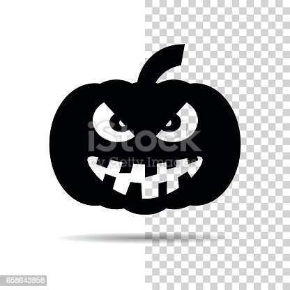 Halloween Pumpkin Icon Isolated Over White And Transparent ...