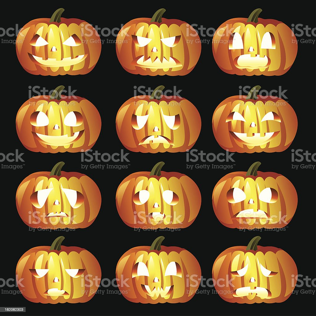 Halloween Pumpkin icons royalty-free halloween pumpkin icons stock vector art & more images of anger