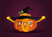 Halloween. Pumpkin in a velvet hat holds a garland with flags with the letters boo. Vector. Greeting card for a holiday or an invitation to a party.