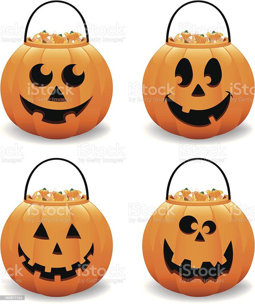 Halloween Pumpkin Jack  O' Lantern Candy Bucket Vector Illustration Collection vector art illustration