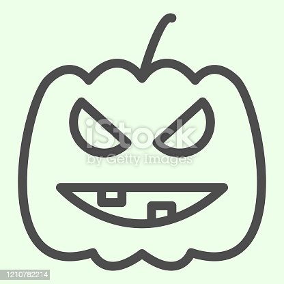 Halloween pumpkin line icon. Carved Burning gourd with scary face outline style pictogram on white background. Halloween party symbol for mobile concept and web design. Vector graphics