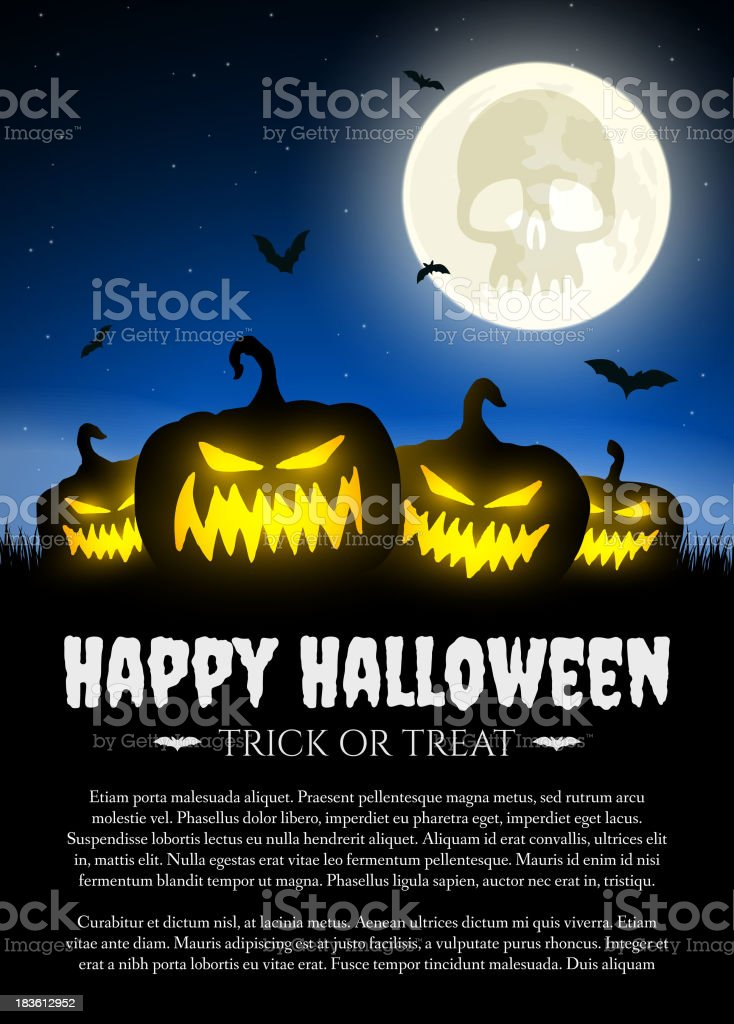 Halloween pumpkin on grass with moon royalty-free stock vector art