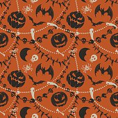 Colorful halloween background weaved of beads with skulls and tusks, with pumpkins and bats.